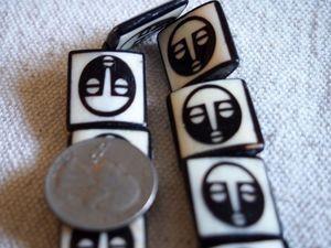 Smaller African Mask Batik Bone Beads Framed Ebony on Ivory