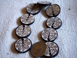 Tree of Life Large 25mm Bone Batik Coin Beads
