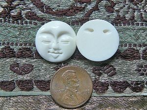 Petite 20mm Bone Round Carved Moon Face Bead/Cabochon - Eyes Closed