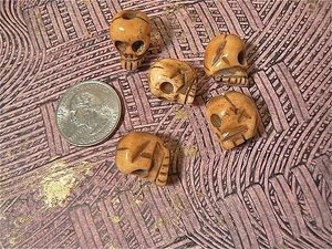 Handcarved Large Hole Bone Skull Bead 13x16mm