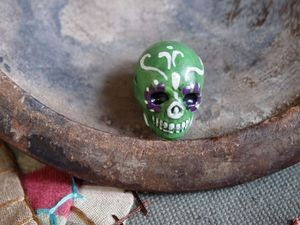 Large Green Painted Day of the Dead Skull Bead