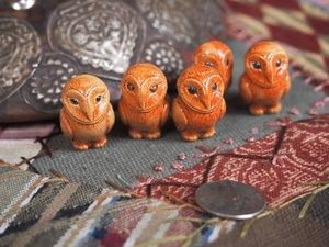 Large Brown Porcelain Ceramic Barn Owl Bead or Pendant