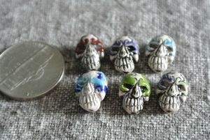 Teenie tiny porcelain ceramic Calavera skull bead