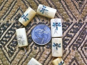 Inlaid Bone Dragonfly bead with Scrimshaw