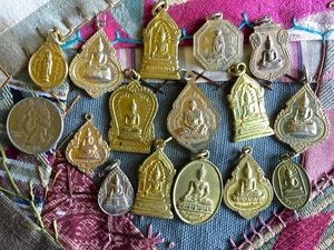 Golden Vintage Thai Buddhist Medallion Coin Amulet Medal