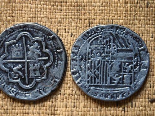 Antique Silver Shipwreck Replica Spanish Coin Token