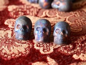 Iridescent Large Clay Ceramic Matte Raku Skull Bead (rounded)