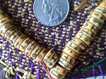 108 carved yak antiqued bone mala ancient writing rondelle 10x4mm bead strand