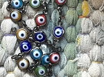 ONE FOOT Evil Eye beads Chain Rosary Necklace Chain with Gunmetal Links