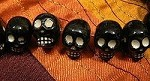 Black ceramic skull bead