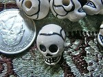 Porcelain Ceramic White Skull Beads with Markings - Shorter