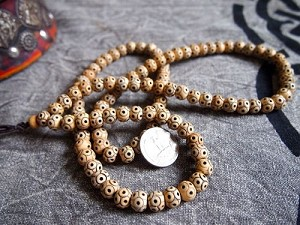 108 bone bead mala Tibetan 9 eye Buddha rondelles 8x10mm
