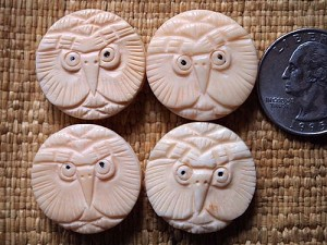 Handcarved Bone Owl Coin Bead 24mm