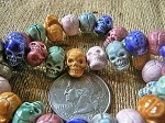 Teenie tiny glazed porcelain ceramic skull beads - colors