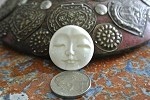Bone Round Indonesian Carved Moon Face Bead/Cabochon 25mm