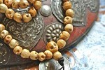 108 carved bone mala 5x6mm skull beads