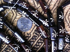 Dark Bone Handcarved Dragonfly bead