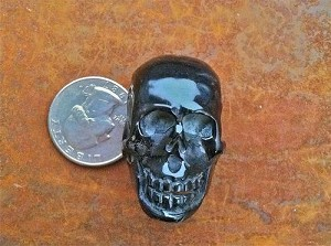 Detailed Indonesian Black Horn Handcarved Skull Bead XL