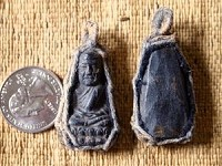 Handcarved Thai Buddhist Amulet Pendant with Woven Bezel