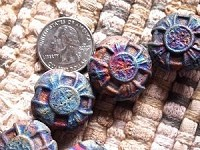 Iridescent Rounded Smaller Clay Ceramic Matte Raku Four Point Celtic Cross Bead