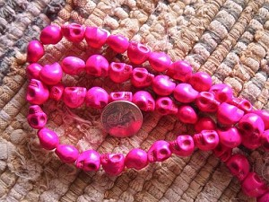 10x13mm Hot Pink Howlite Skull Bead Strand