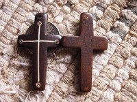 Carved Ebony Bone Cross Pendant