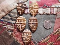 5 Unique Vintage Mask or Shield-Shaped Tribal Batik Bone Buttons
