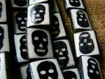 Bone skull tablet beads ebony on ivory