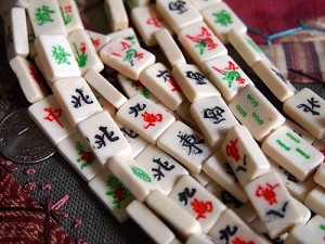 Bone MahJong Tile Beads Small