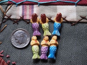 Teenie tiny ceramic mermaid bead with flower