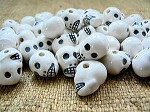 Porcelain ceramic plain white skull bead
