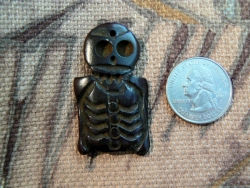 Bone:  Dark Brown Skeleton Bead/Pendant