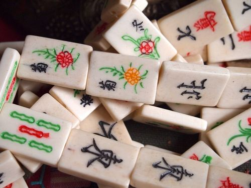 Bone Mah Jong Tile Beads Large