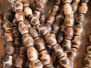 Tibetan agate dzi-style 14x10mm matte barrel brown turtle shell bead strand