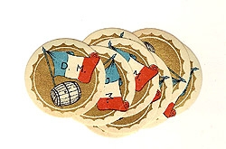 5 French wine barrel labels with flag