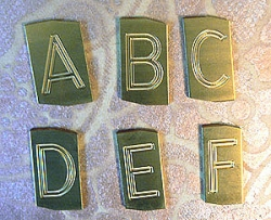Vintage Brass Engraved Letterpress Letters & Numbers - W