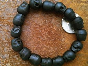 BLACK wood skull bead mala 11x13mm bracelet