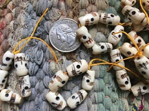 Pack of Five White Bone Skull beads