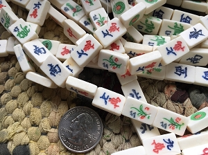 Small Bone MahJong Tile Beads 12 Bead Strand
