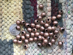 Bulk Wholesale Supplies 10mm Nickel Free Copper Plated Round Beads with Large 4mm Hole 50 Pieces