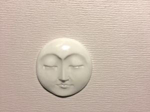 Bone Round Indonesian Carved Moon Face Bead/Cabochon 25mm - Eyes Closed