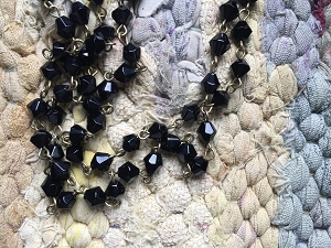 ONE METER Black 15x10mm Briolette Glass Beads with 8x6mm Faceted Abacus Glass Beads Beaded Rosary Chain with Antique Bronze Links