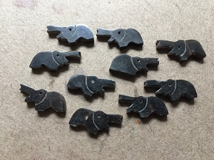 10 Pcs Vintage Handcarved Black Horn Fetish Elephant Beads