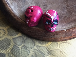 Large Dark Pink Painted Day of the Dead Skull Bead