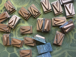 Vintage metal type - 3/8 inch wide by 3/4 inch tall - Letter V