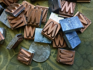 Vintage metal type - 3/8 inch wide by 3/4 inch tall - Letter W