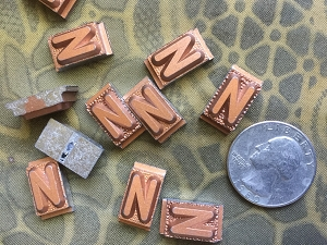 Vintage metal type - 3/8 inch wide by 3/4 inch tall - Letter N