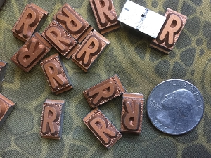 Vintage metal type - 3/8 inch wide by 3/4 inch tall - Letter R