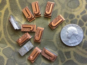 Vintage metal type - 3/8 inch wide by 3/4 inch tall - Letter J