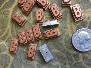 Vintage metal type - 3/8 inch wide by 3/4 inch tall - Letter B